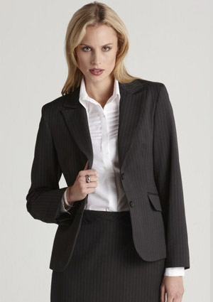 BC Ladies Stretch Pinstripe Short Mid Length Jacket 60211 1