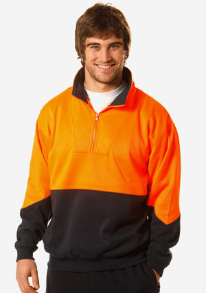WS Hi Vis Long Sleeve Fleecy Sweat (4XL to 7XL) SW13A-X 1