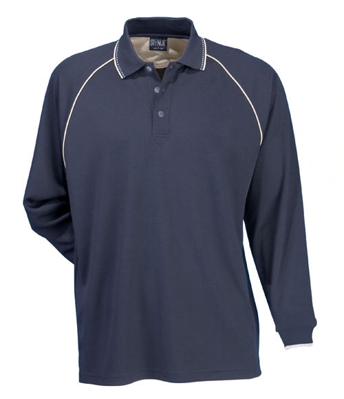 Stencil Cool Dry Mens Long Sleeved Polo 1040