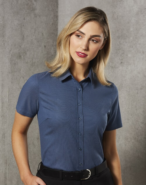 WS Ascot Ladies Dot Jacquard Stretch Short Sleeve Shirt M8400S