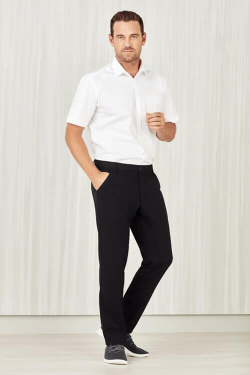 Biz Care Mens Comfort Waist Flat Front Pant CL958ML