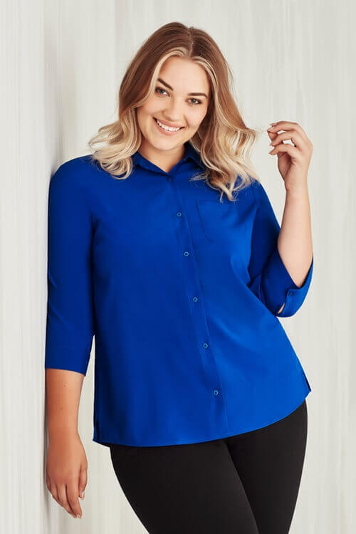 Biz Care Womens Easy Stretch Plain 3/4 Sleeve Shirt CS951LT