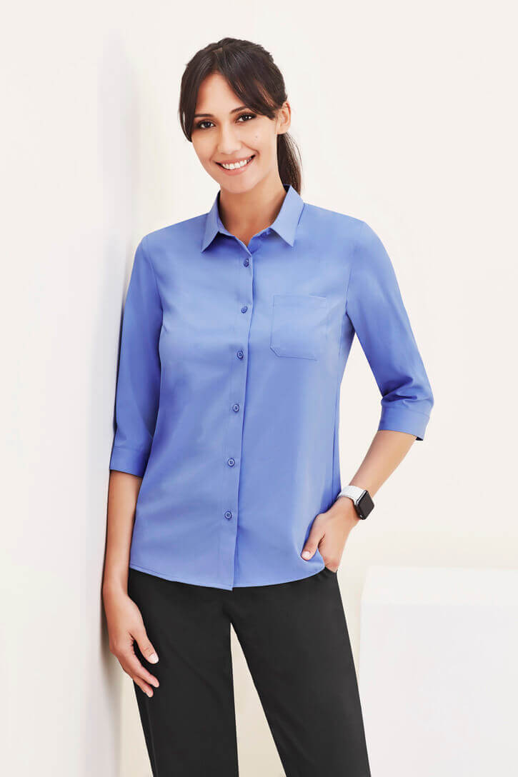 Biz Care Florence Womens Stretch Plain 3/4 Sleeve Shirt CS951LT