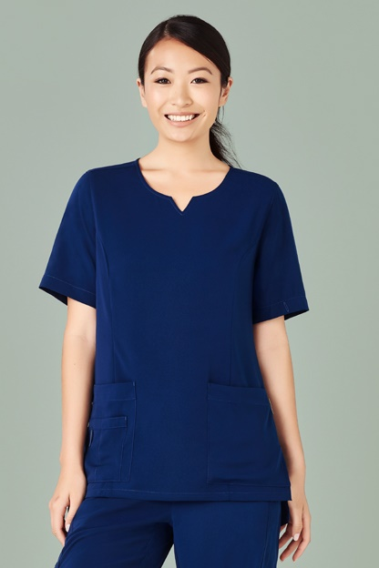 Biz Care Womens Avery Tailored Fit Round Neck Scrub Top CST942LS