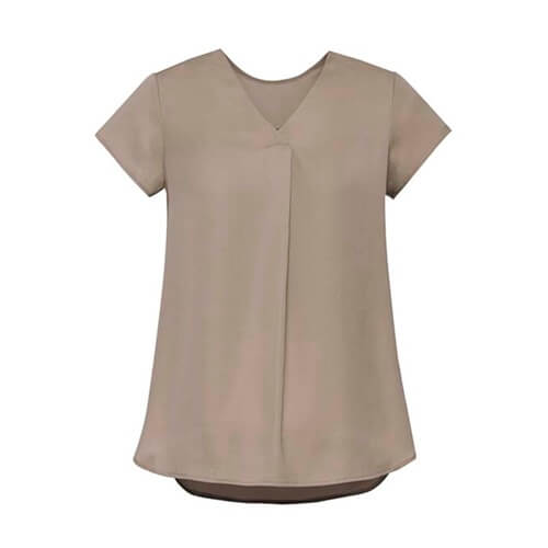 BC Kayla Ladies V-Neck Pleat Blouse RB967LS