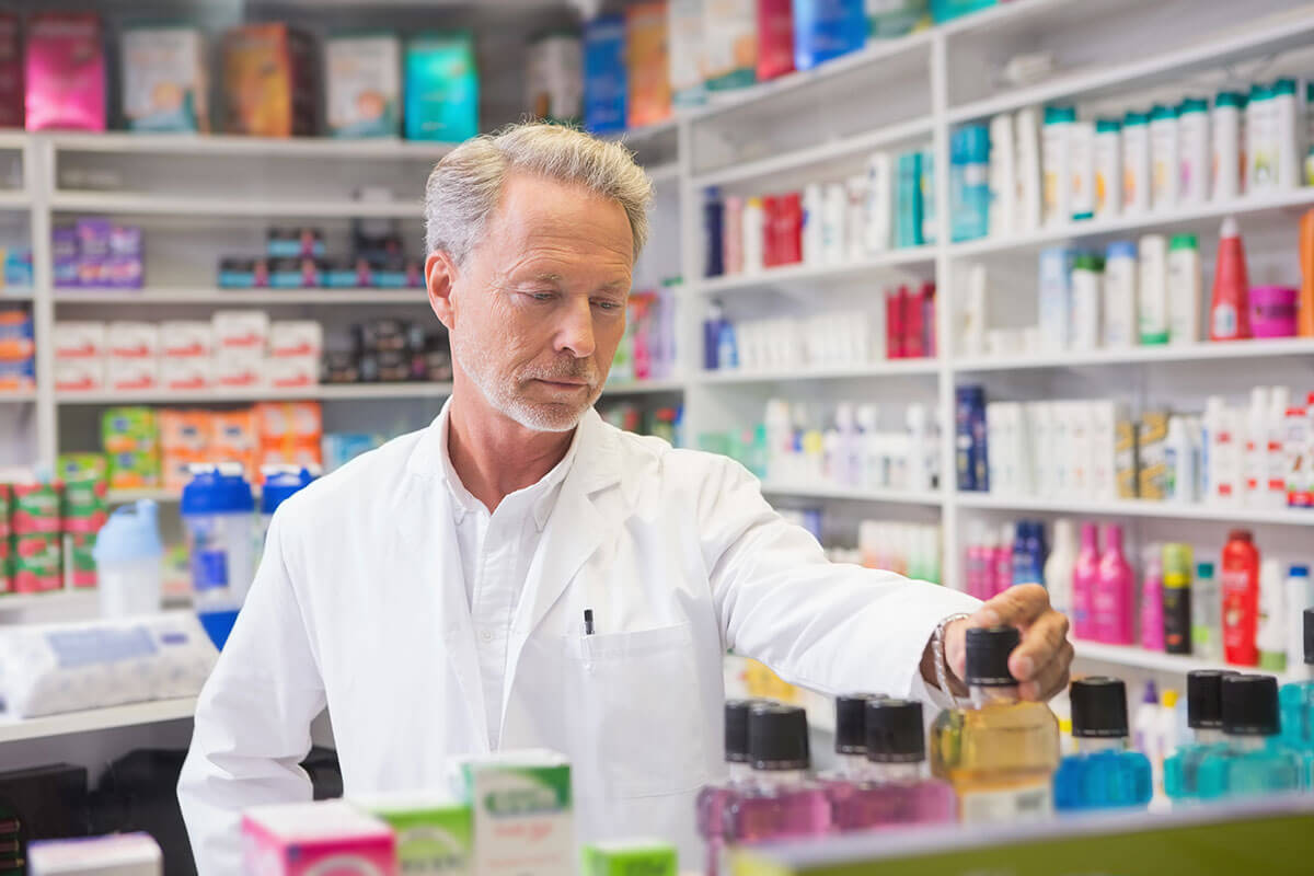 Pharmacist wearing a jacket