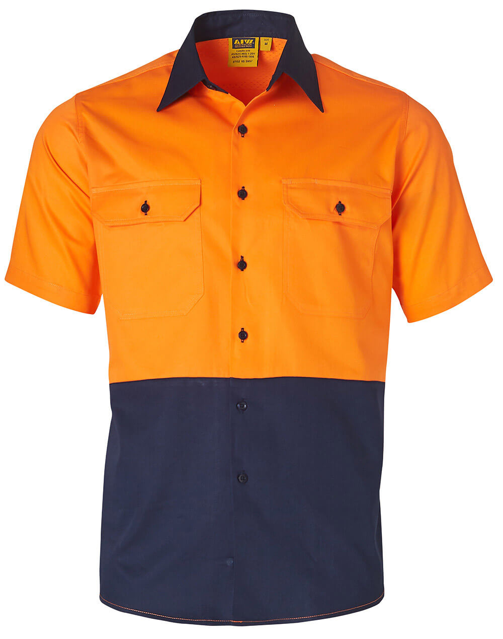 WS Mens Hi Vis Cool-Breeze Cotton Twill Short Sleeve Safety Shirt SW57
