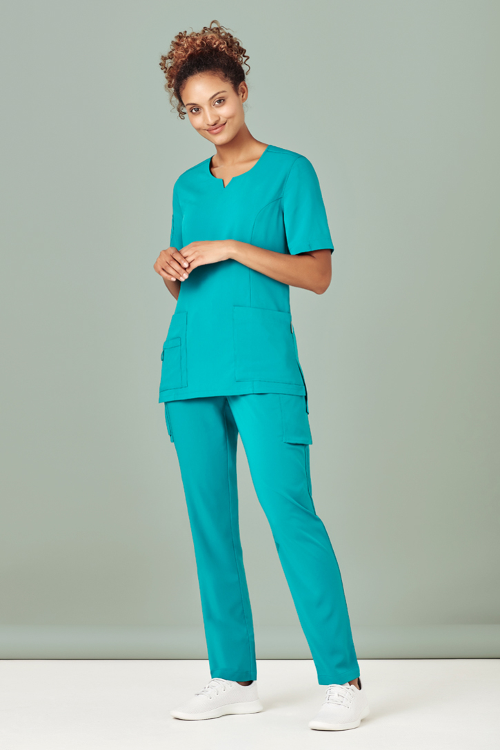 Biz Care Scrub Set - Womens Avery Tailored Fit Round Neck Scrub Top CST942LS & Multi-Pockets Slim Leg Pant CSP943LL