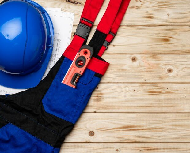 Top view of uniform of construction worker